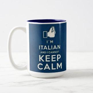 Soy italiano yo no puedo guardar calma taza de café de dos colores