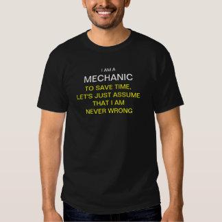 Soy mecánico para ahorrar tiempo, nos dejé apenas camisetas