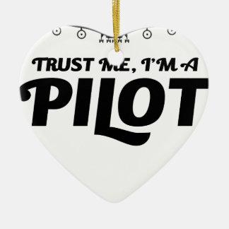 Soy piloto adorno navideño de cerámica en forma de corazón