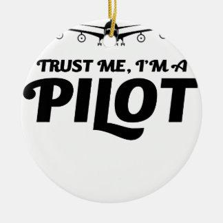Soy piloto adorno navideño redondo de cerámica