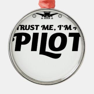 Soy piloto adorno navideño redondo de metal