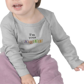 Soy su jefe - manga larga del bebé del friki de Ch Camiseta