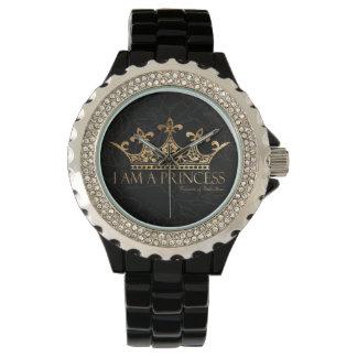Soy un esmalte del negro del diamante artificial reloj de pulsera