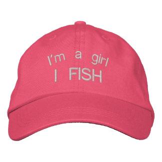 Soy un gorra rosado bordado los pescados del chica gorra de béisbol