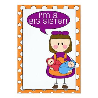 soy una hermana grande (los gemelos del invitación 12,7 x 17,8 cm