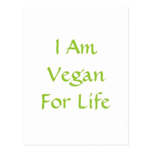 Soy vegano para la vida. Verde. Lema. Personalizad Postales