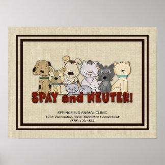 Spay y neutralice a sus mascotas que hacen póster