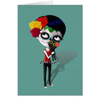 Spooky Dia de Los Muertos Girl Tarjeta De Felicitación