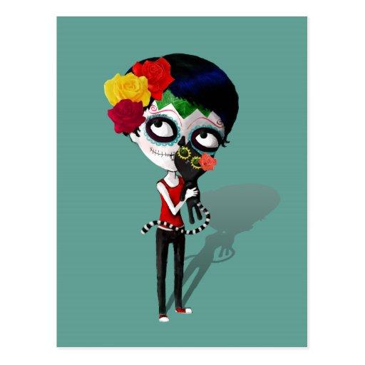 Spooky Dia de Los Muertos Girl Postales