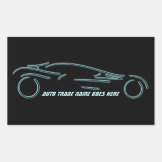 Sportscar estilizado - diseño auto de neón que rectangular pegatinas
