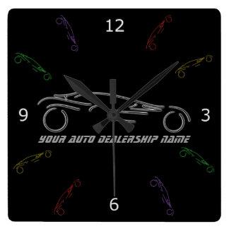 Sportscar estilizado - diseño de neón del taller reloj cuadrado
