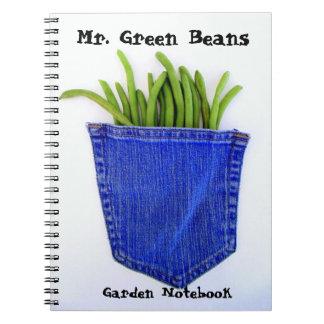 Sr. cuaderno del jardín de las habas verdes