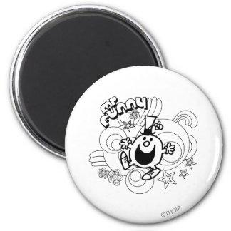 Sr. Funny el   negro y remolinos y estrellas del Imán Redondo 5 Cm
