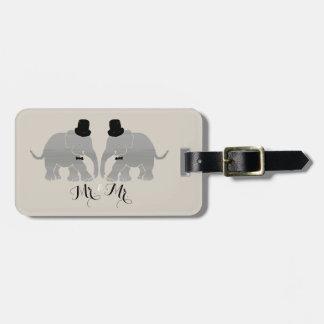Sr. gay del vintage del boda y Sr. Dos elefantes Etiquetas Para Maletas