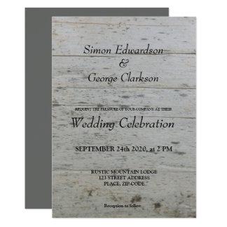 Sr. gay y Sr. invitación del boda del driftwood