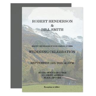 Sr. gay y Sr. invitación rústica del boda de la