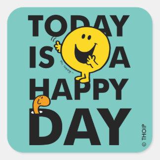 Sr. Happy el | es hoy un día feliz Pegatina Cuadrada