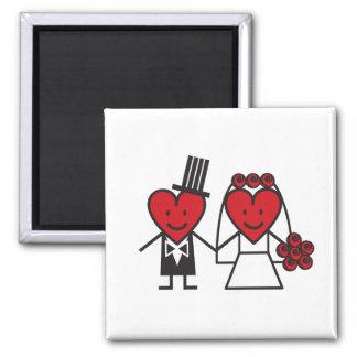 Sr. Heart Wedding Magnet Imán Cuadrado