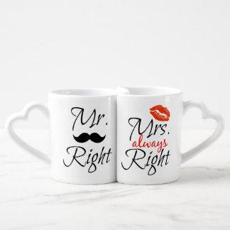Sr. la Right y señora siempre derecha Set De Tazas De Café