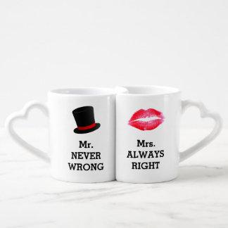 Sr. Never Wrong, señora Always la Right Funny Set De Tazas De Café