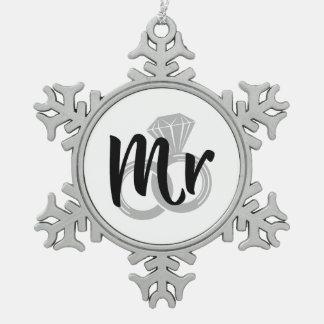 Sr. novio del anillo de bodas adorno de peltre en forma de copo de nieve