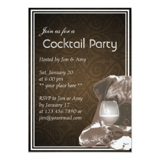 Sr. Pug y invitaciones del fiesta del cóctel del Anuncios Personalizados