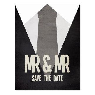Sr. retro y Sr. Suit Tie Gay Save la postal de la
