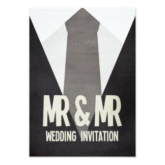 Sr. retro y Sr. Suit y invitación gay del boda del
