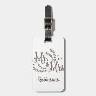 Sr. señora boda floral del laurel de bronce etiqueta para maletas