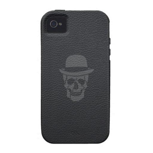 Sr. Skull en el cuero negro Vibe iPhone 4 Carcasa