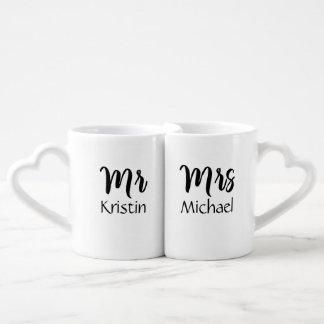 Sr. Su y señora Him Personalized Set De Tazas De Café