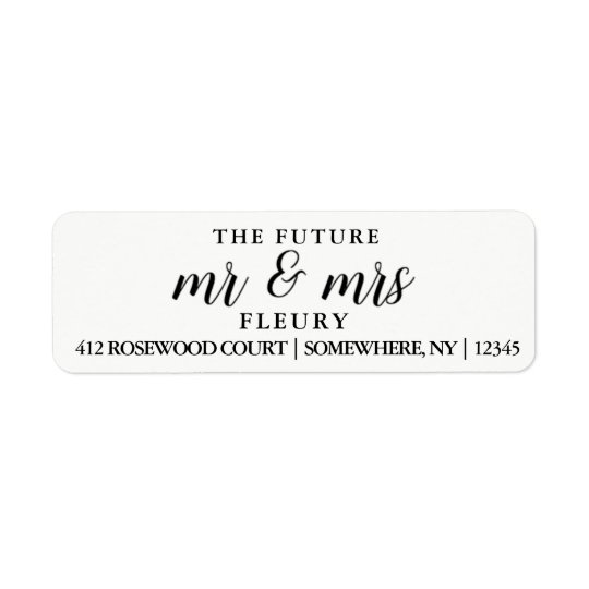 Sr. y la señora futuros etiquetas del remite etiqueta de remitente