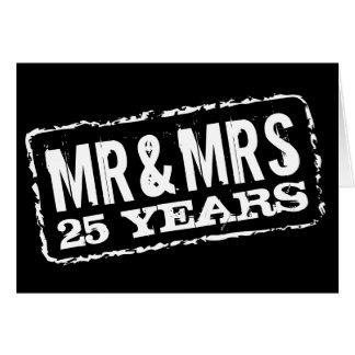 Sr y señora 25tas tarjetas del aniversario de bod