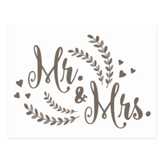 SR. y SEÑORA apenas el casarse floral gris casado Postal