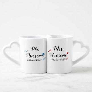 Sr. y señora Awesome MashaAllah (personalizable!) Set De Tazas De Café