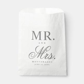 Sr. y señora bolsos del favor del boda bolsa de papel