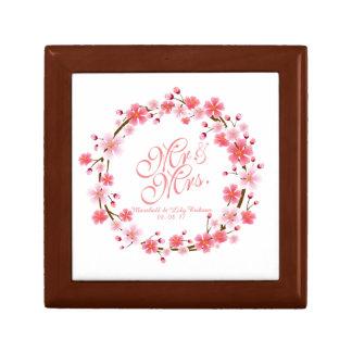 Sr. y señora caja de regalo de boda de la flor de