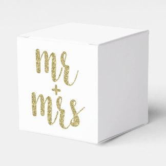 Sr. y señora cajas del favor, brillo del oro