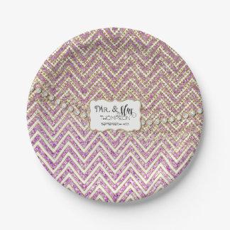 Sr. y señora Chevron Glitter Purple de la Platos De Papel
