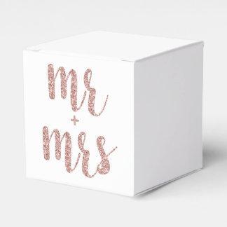 Sr. y señora color de rosa cajas del favor, brillo