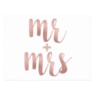 Sr. y señora color de rosa postales del oro