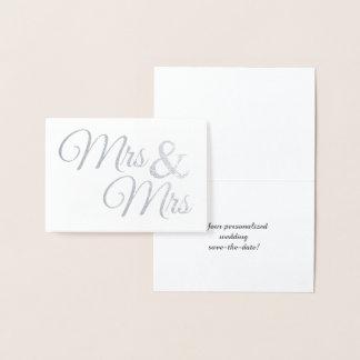 Sr. y señora de plata Word Art Save la fecha Tarjeta Con Relieve Metalizado
