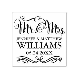Sr. y señora del monograma el | del boda sello de caucho