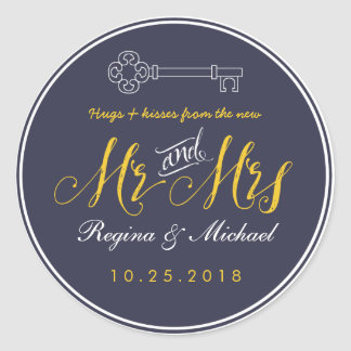 Sr. y señora dominantes rústicos Wedding Favor Pegatina Redonda