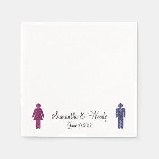 Sr. y señora en brillo servilletas de papel