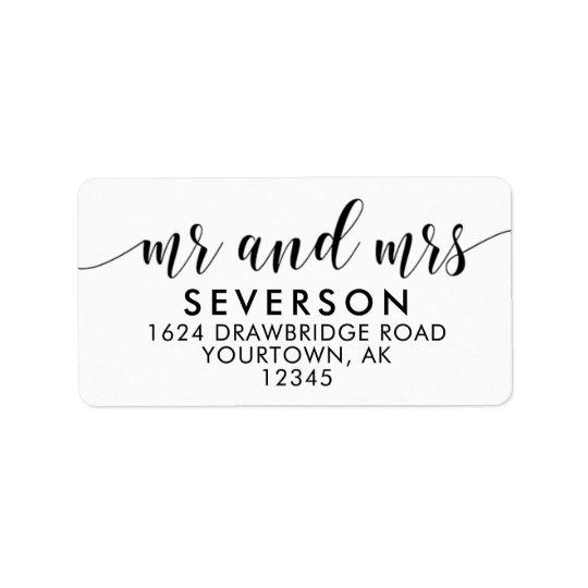Sr. y señora etiquetas de la dirección del correo