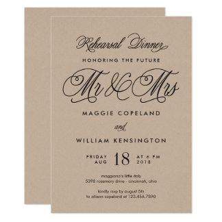 Sr. y señora futuros Rehearsal Dinner Invite Kraft Invitación 12,7 X 17,8 Cm