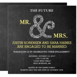 Sr. y señora invitación de la pizarra del fiesta