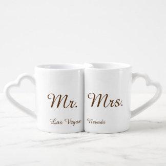 Sr. y señora Las Vegas Set De Tazas De Café