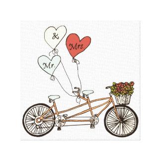 Sr. y señora lona envuelta de la bici del amor impresión en lienzo